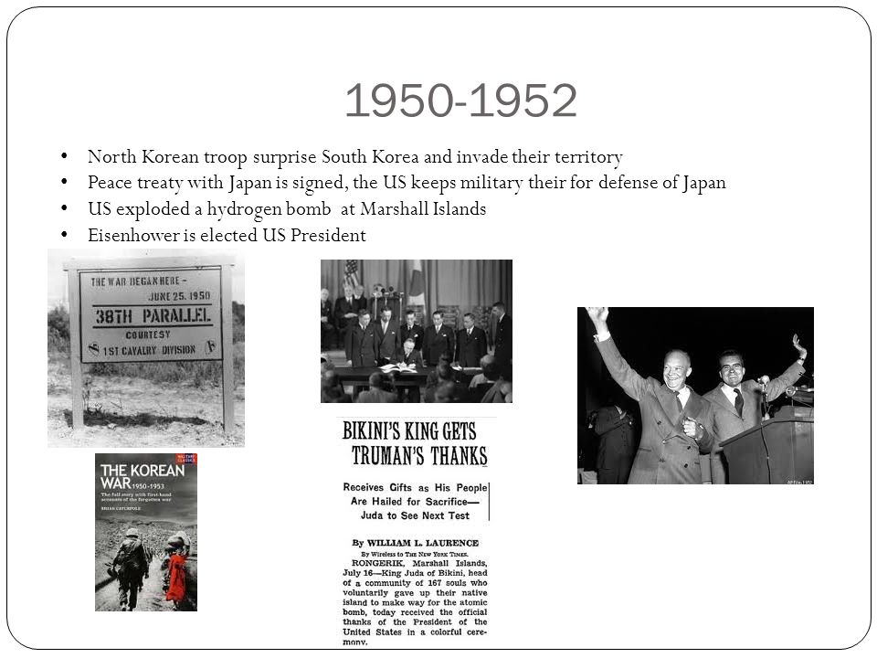 1950-1952 North Korean troop surprise South Korea and invade their territory.