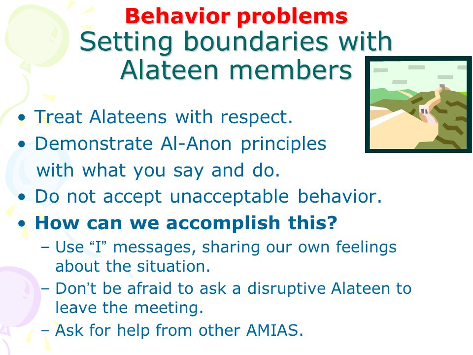 Behavior problems Setting boundaries with Alateen members