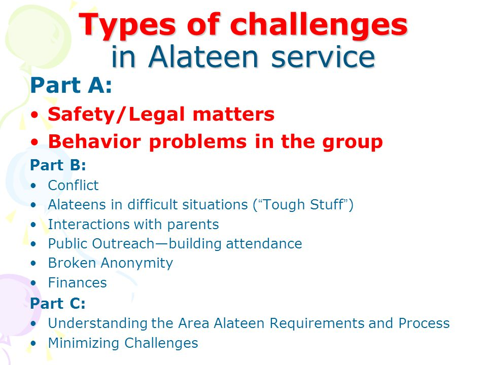 Types of challenges in Alateen service