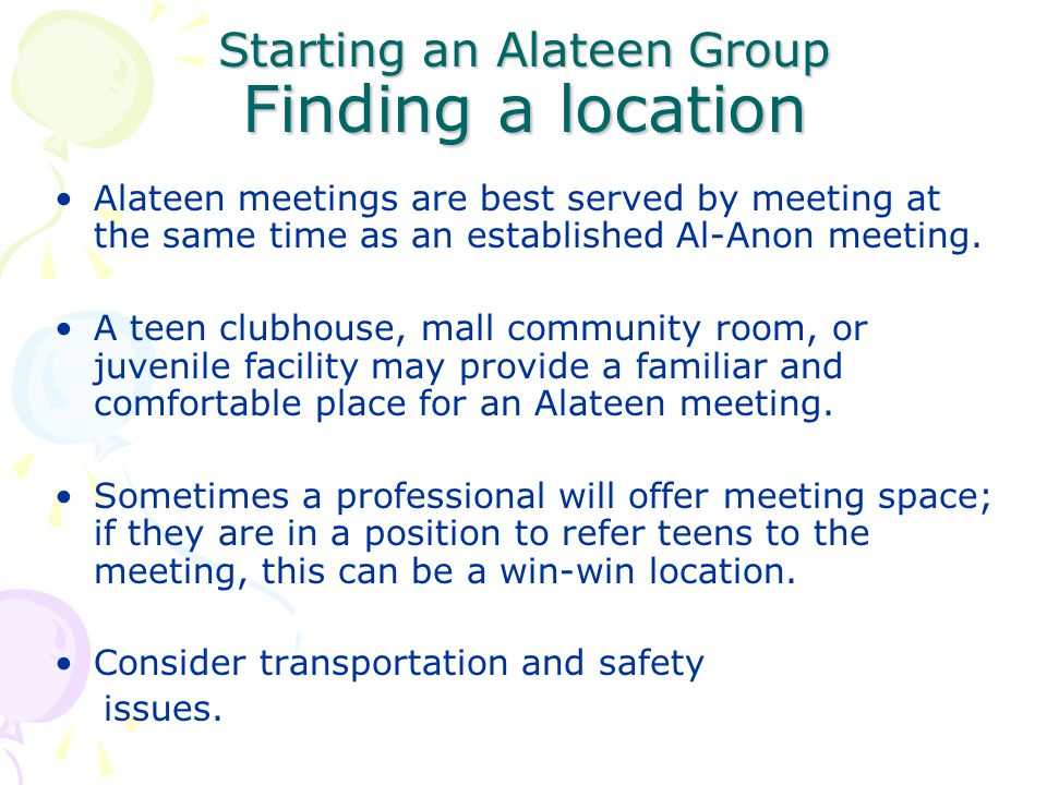 Starting an Alateen Group Finding a location