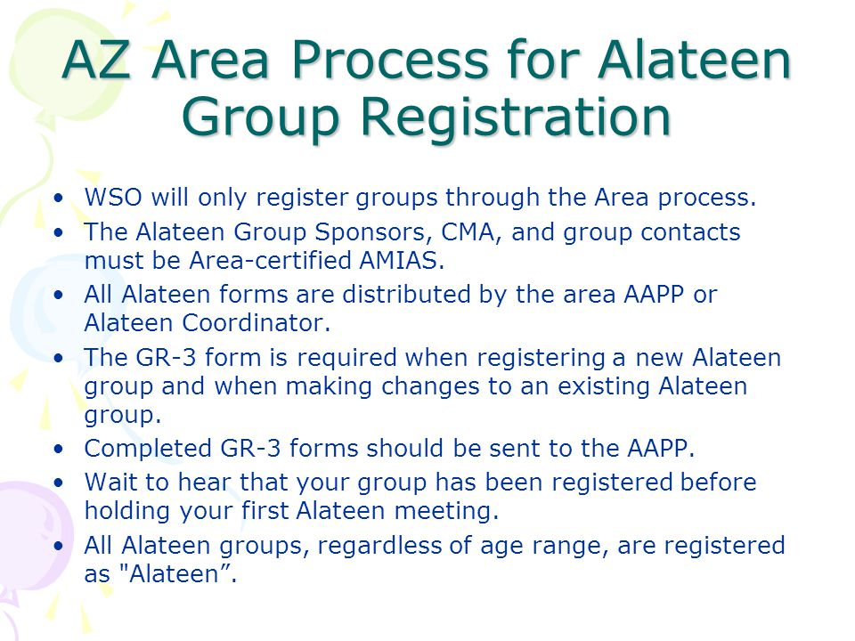 AZ Area Process for Alateen Group Registration