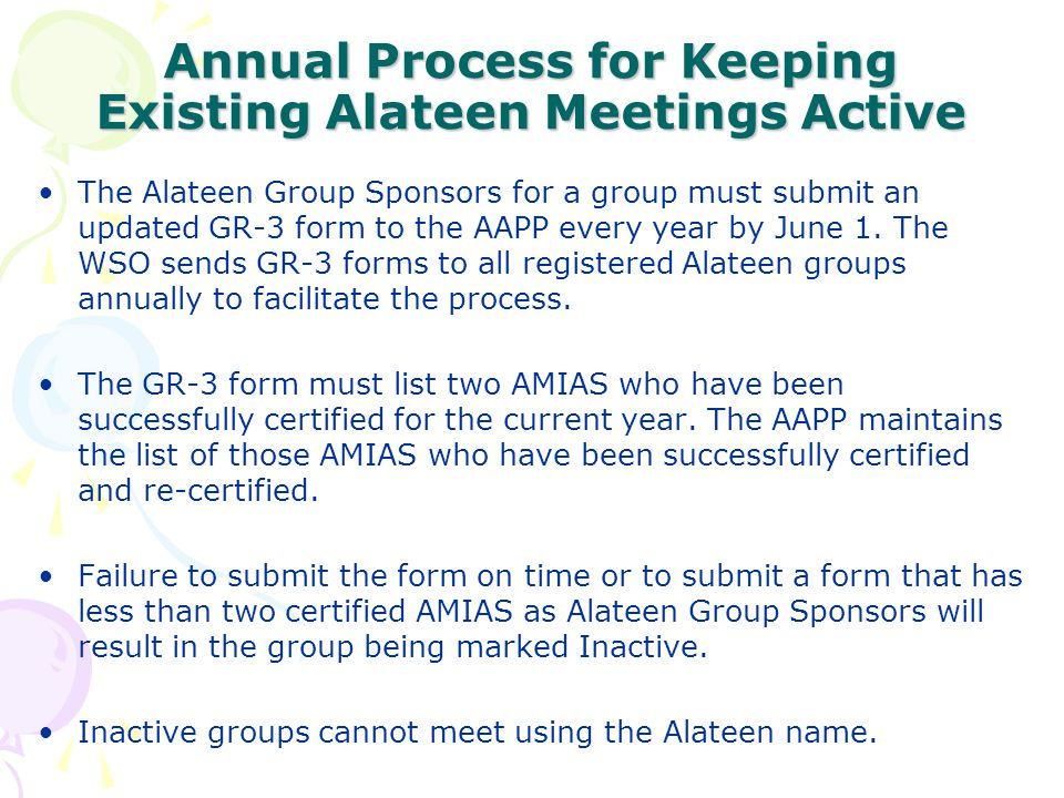 Annual Process for Keeping Existing Alateen Meetings Active