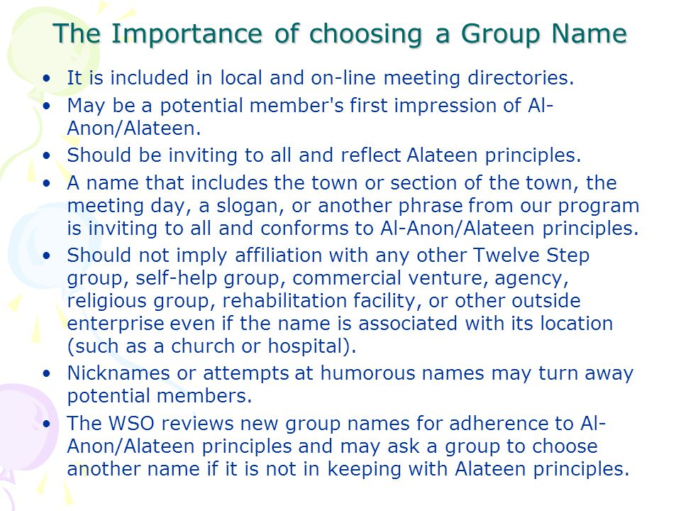 The Importance of choosing a Group Name