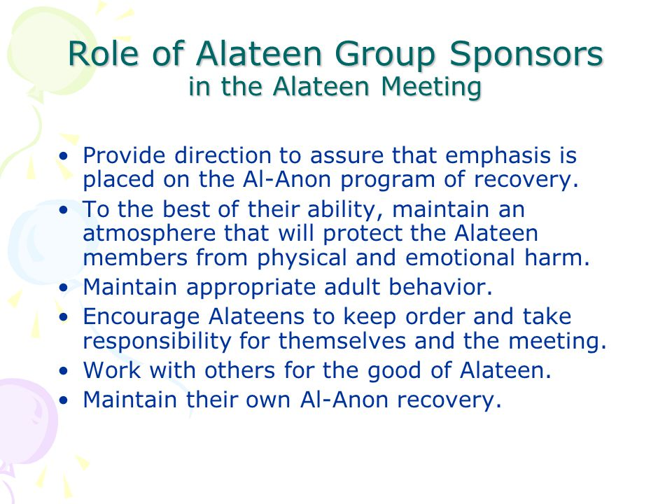 Role of Alateen Group Sponsors in the Alateen Meeting