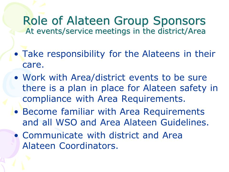 Role of Alateen Group Sponsors At events/service meetings in the district/Area