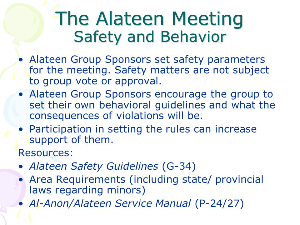The Alateen Meeting Safety and Behavior