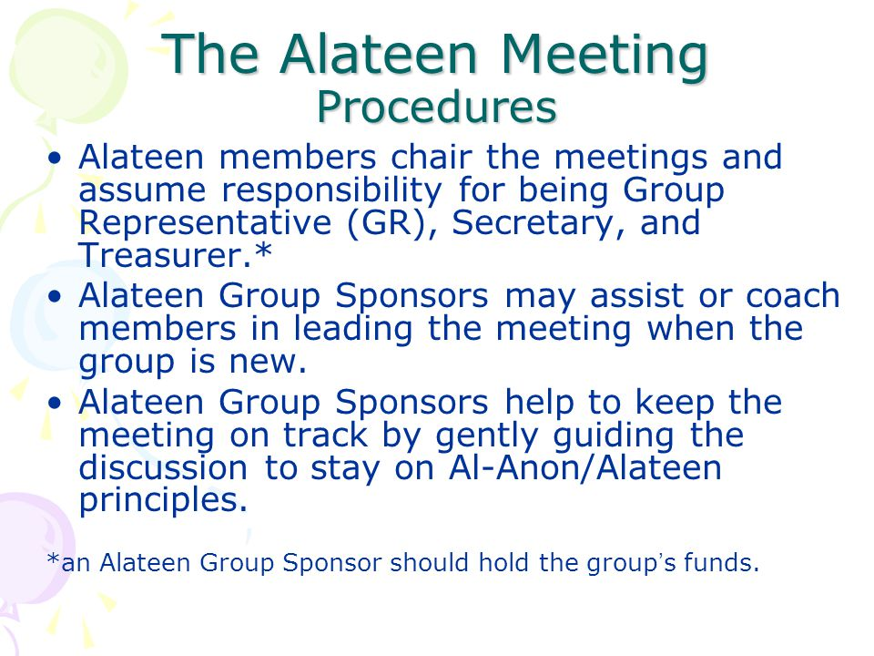 The Alateen Meeting Procedures