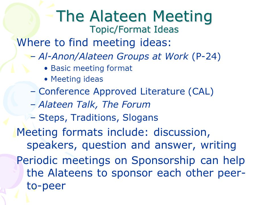 The Alateen Meeting Topic/Format Ideas