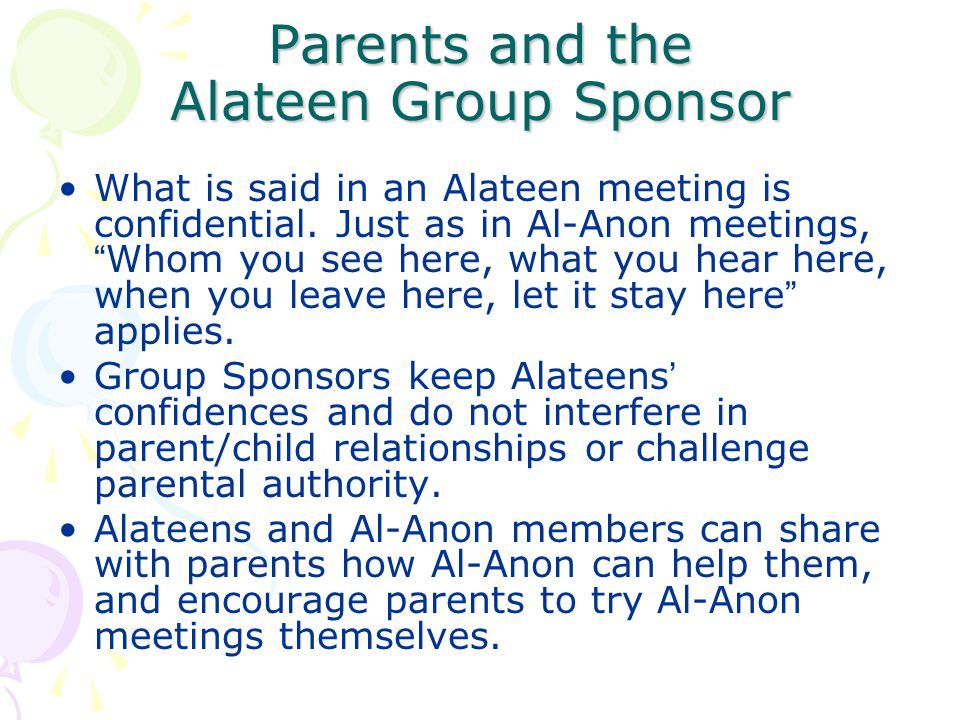 Parents and the Alateen Group Sponsor