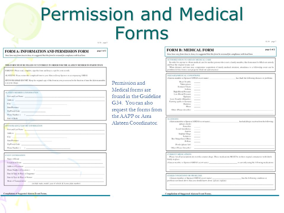 Permission and Medical Forms