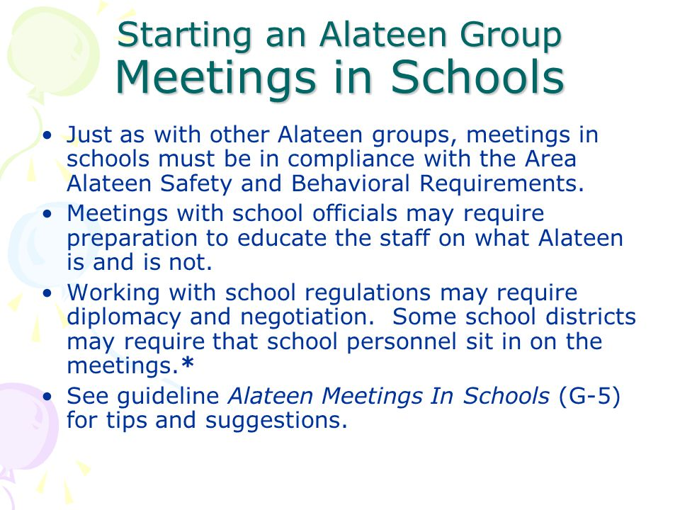 Starting an Alateen Group Meetings in Schools