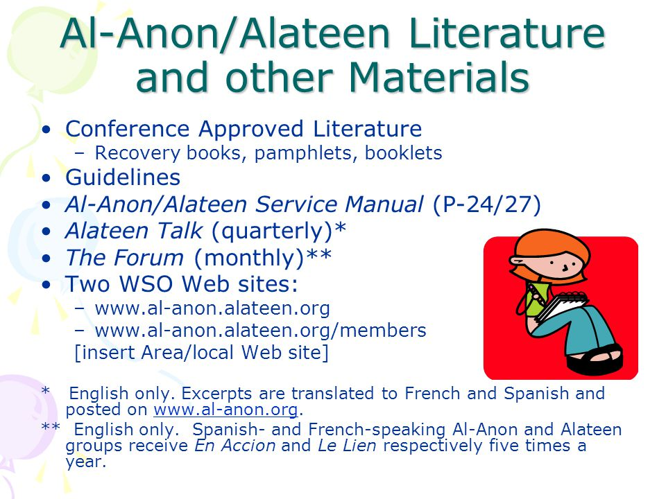 Al-Anon/Alateen Literature and other Materials