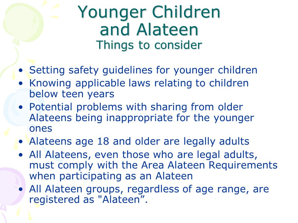 Younger Children and Alateen Things to consider