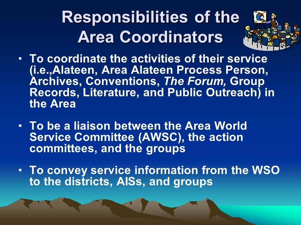 Responsibilities of the Area Coordinators