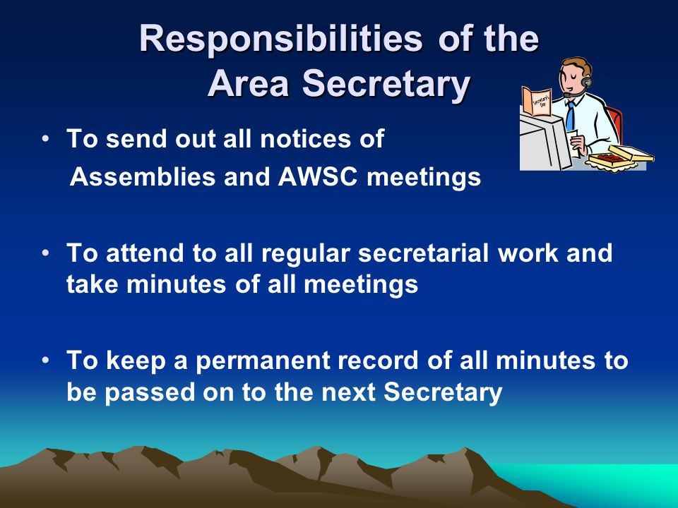 Responsibilities of the Area Secretary