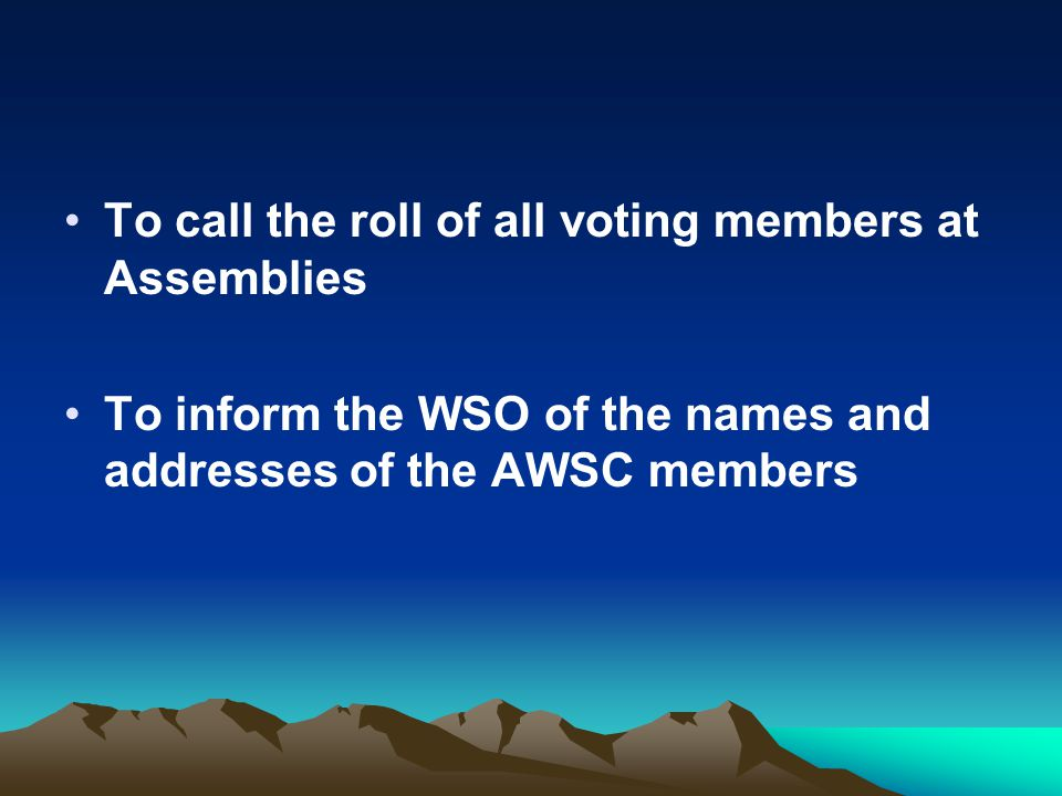 To call the roll of all voting members at Assemblies