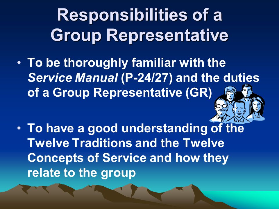 Responsibilities of a Group Representative