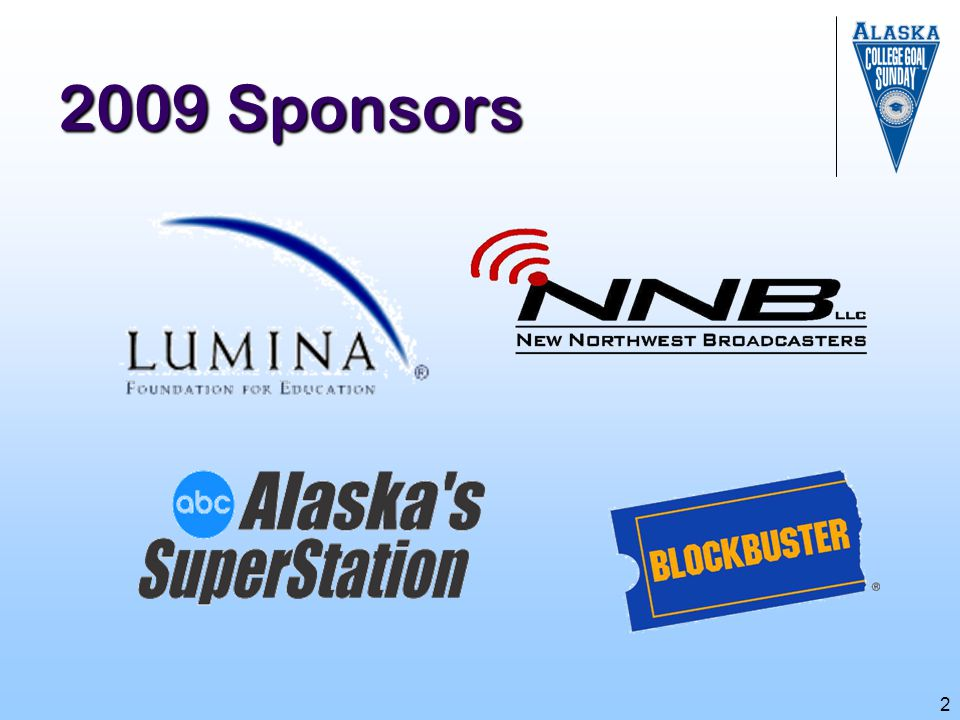 2009 Sponsors We'd like to acknowledge our sponsors for their support in making our event happen today: