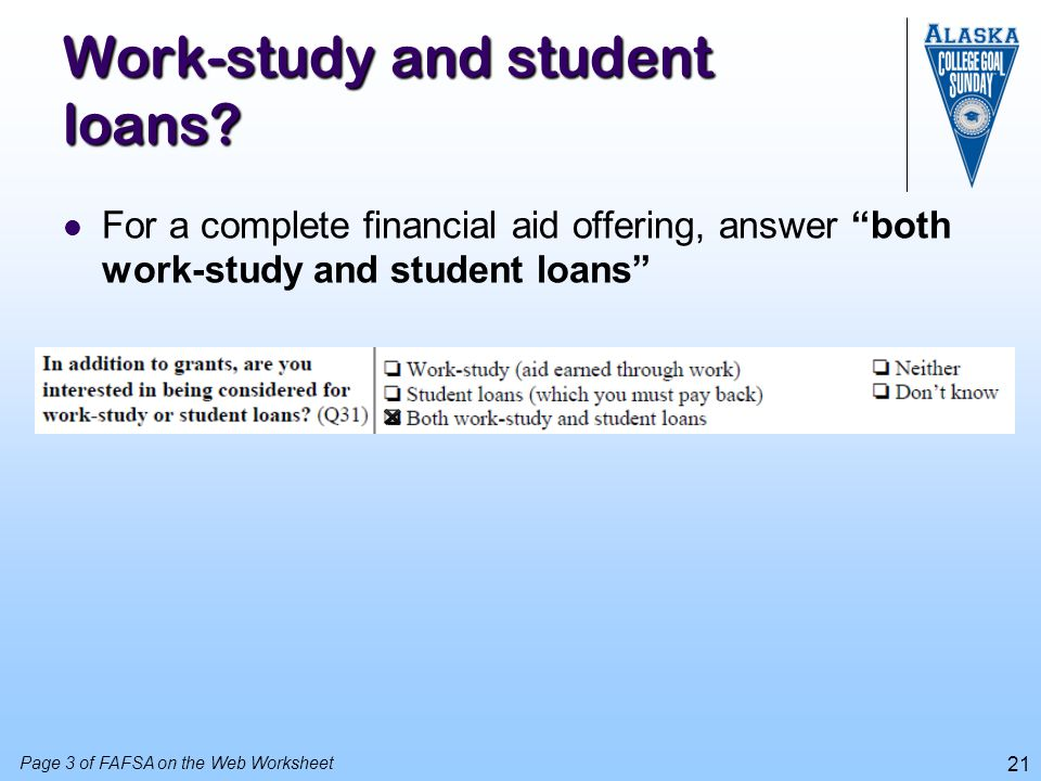 Work-study and student loans