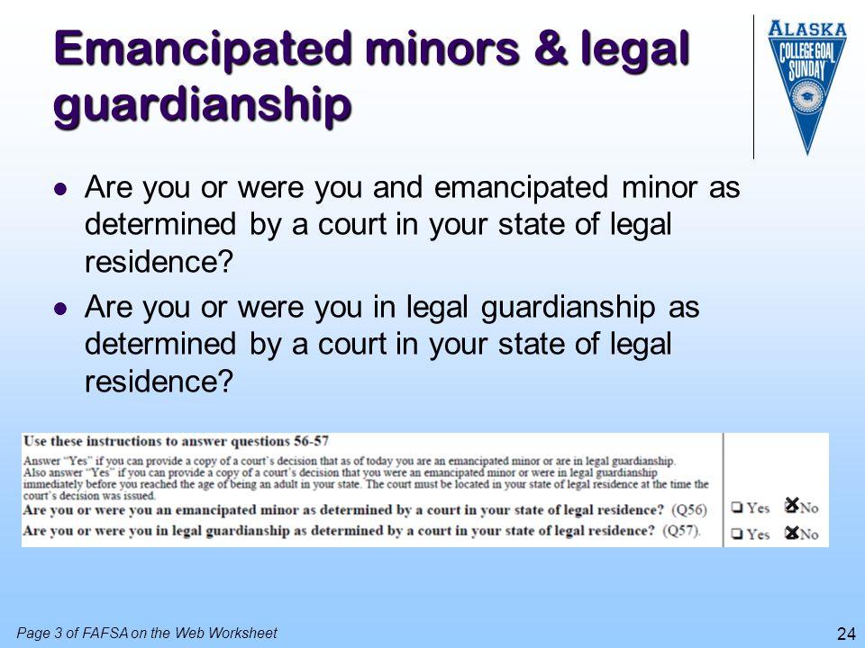 Emancipated minors & legal guardianship