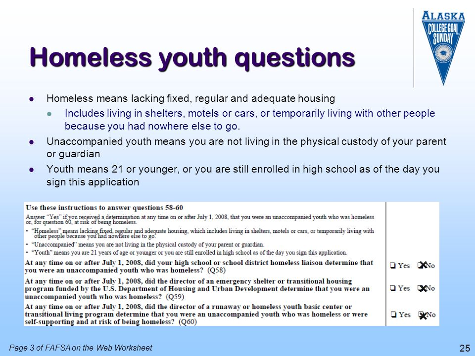 Homeless youth questions