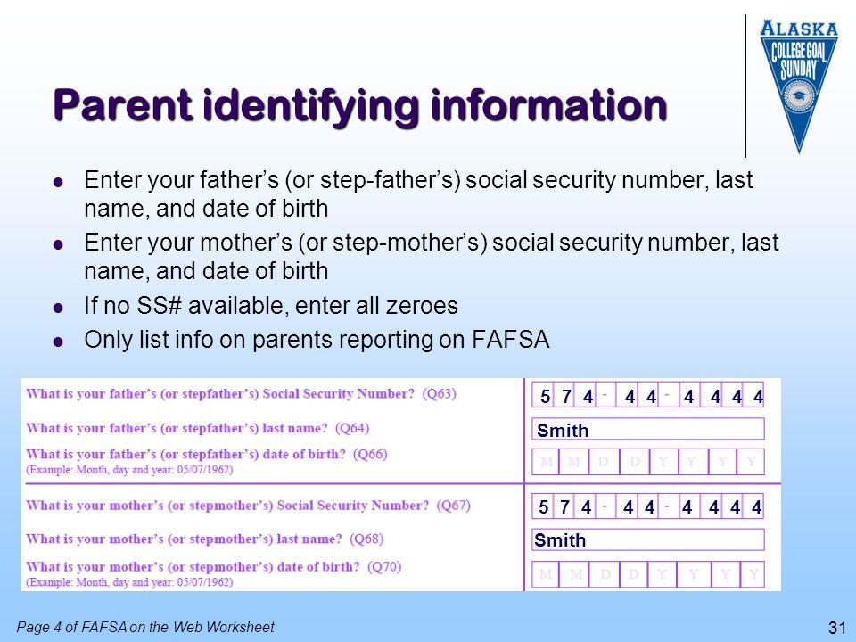 Parent identifying information