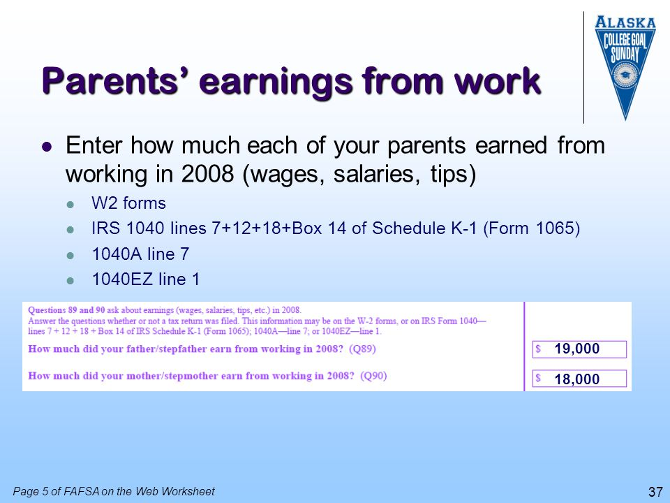 Parents' earnings from work