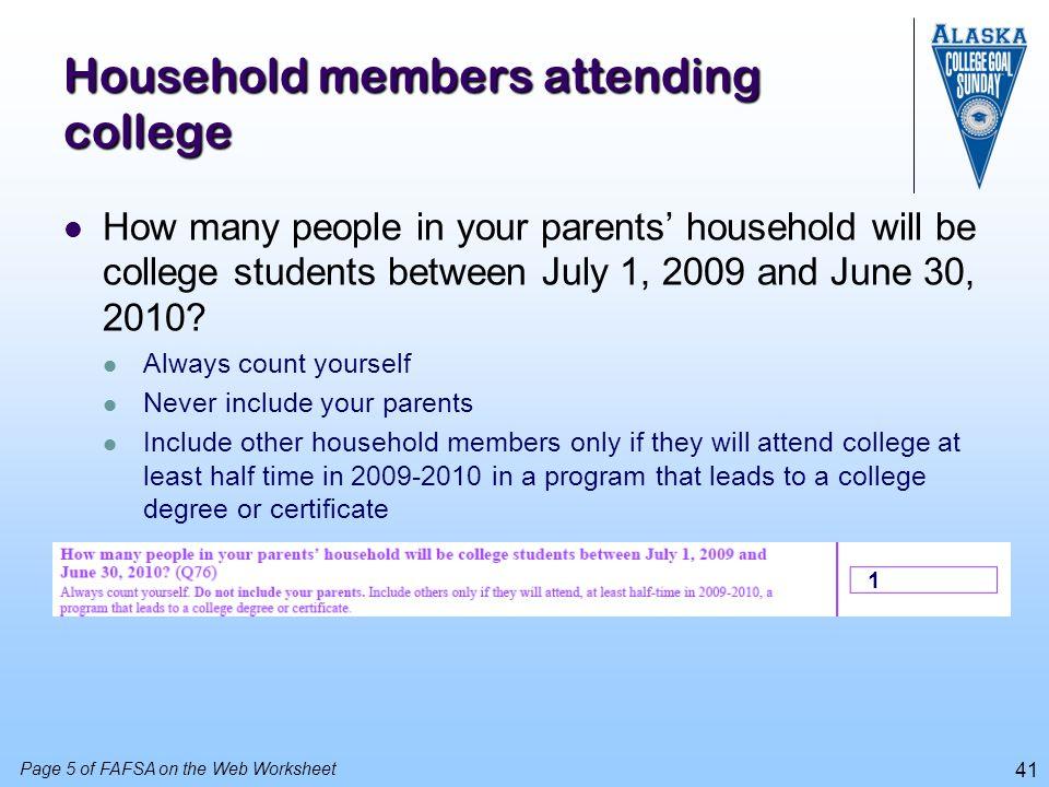 Household members attending college