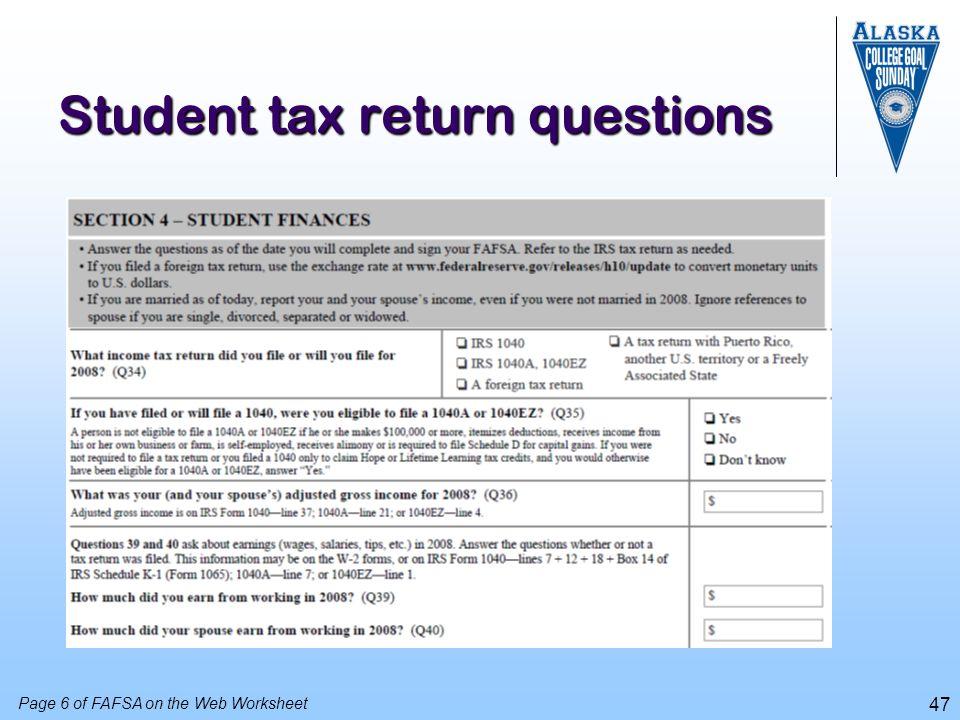 Student tax return questions