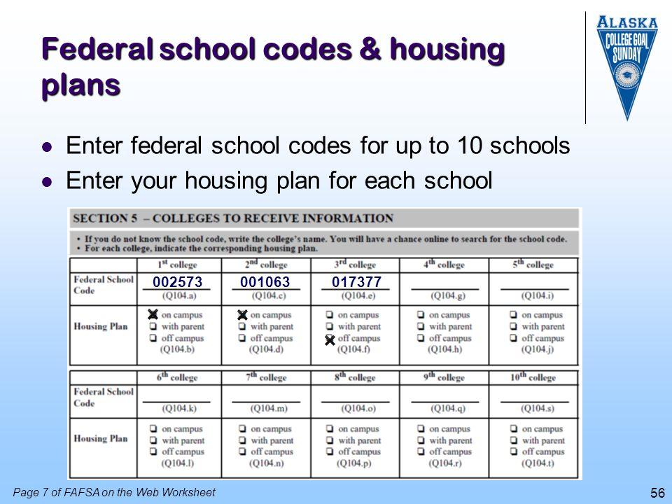 Federal school codes & housing plans