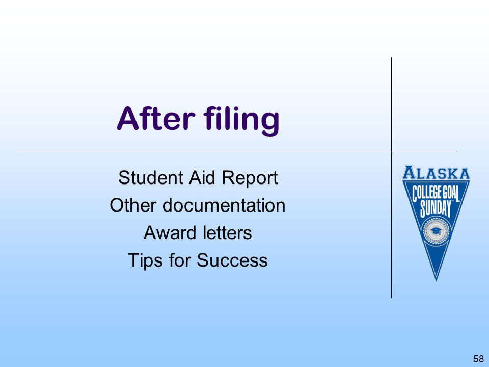 Student Aid Report Other documentation Award letters Tips for Success