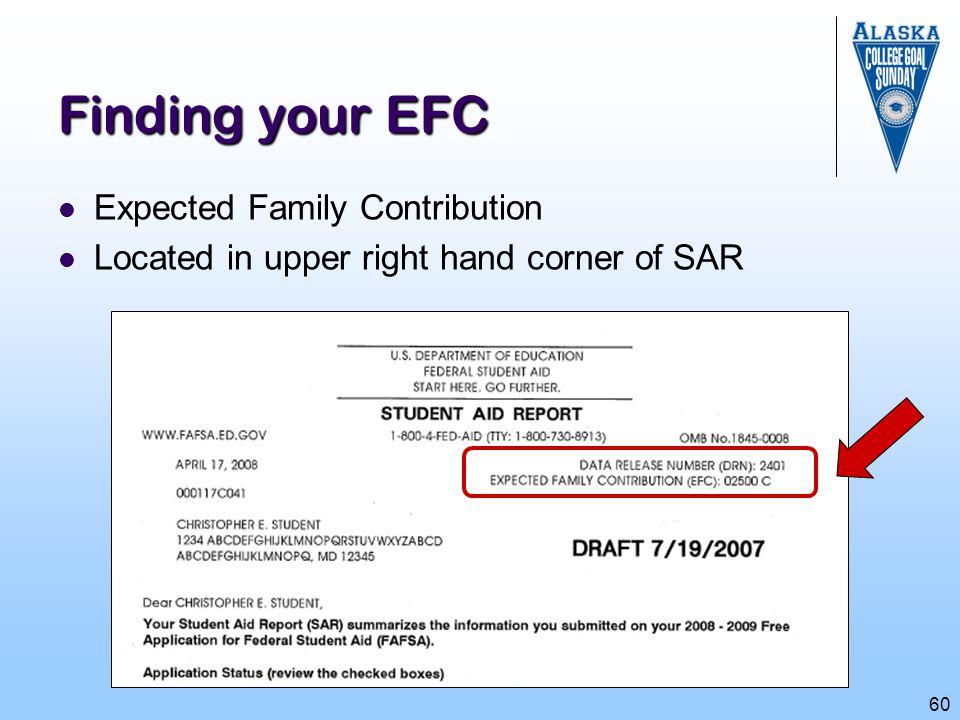 Finding your EFC Expected Family Contribution