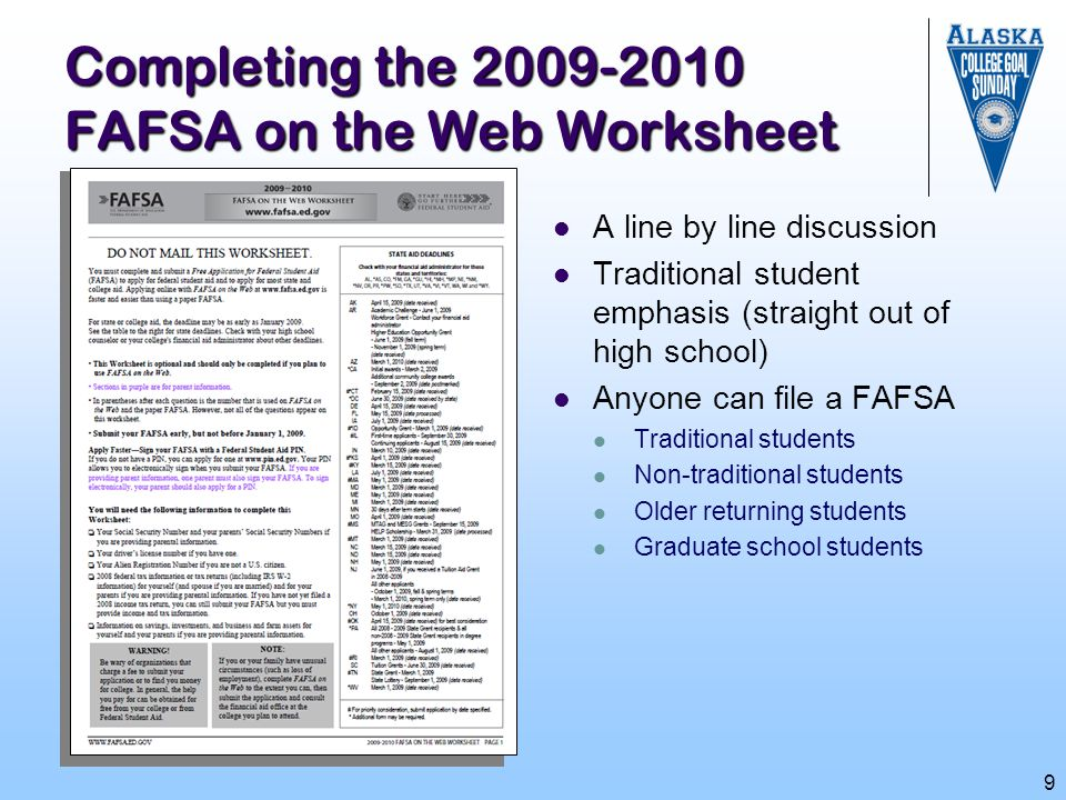 Completing the 2009-2010 FAFSA on the Web Worksheet