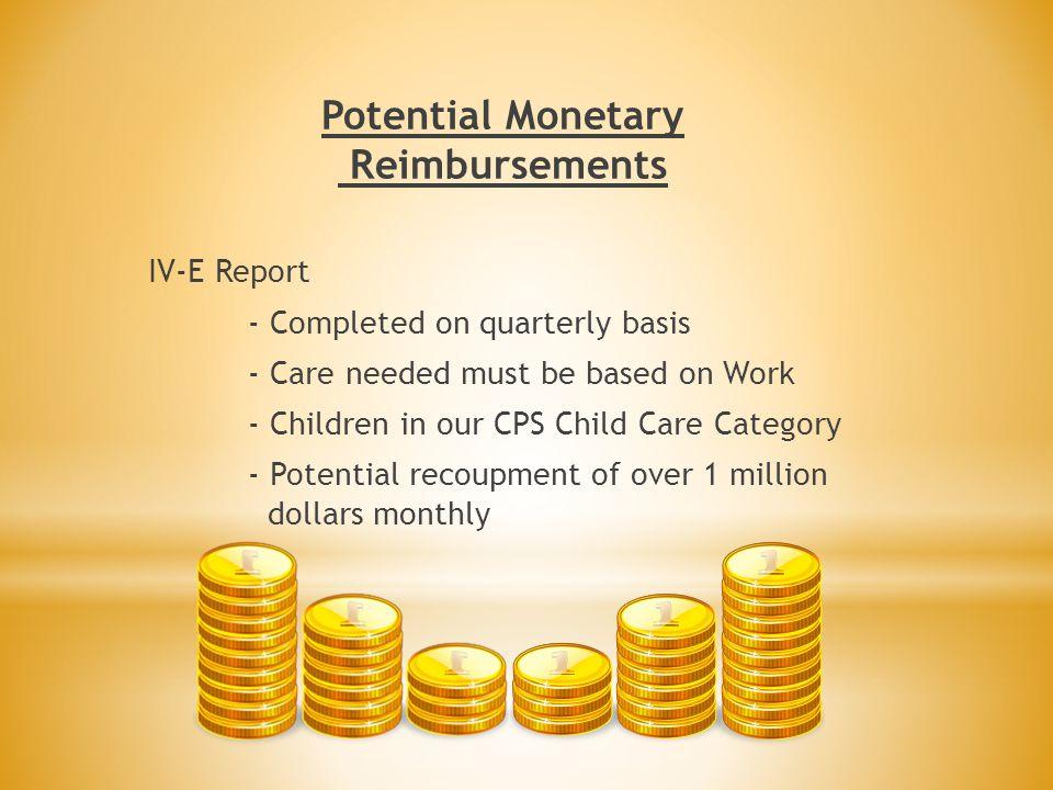 Potential Monetary Reimbursements
