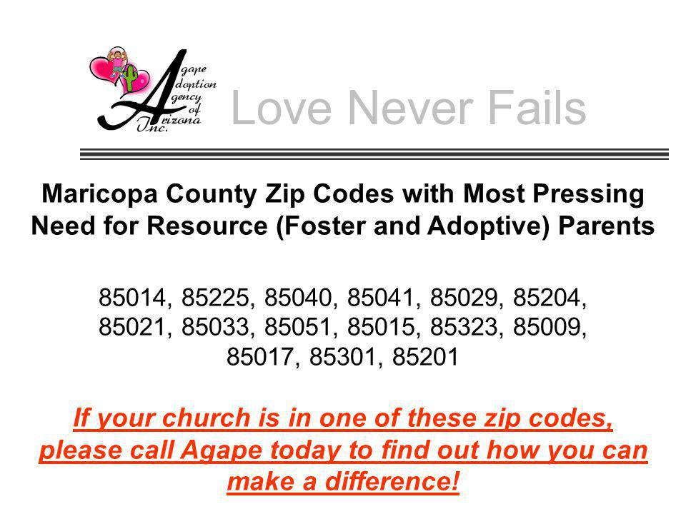 Love Never Fails Maricopa County Zip Codes with Most Pressing Need for Resource (Foster and Adoptive) Parents.
