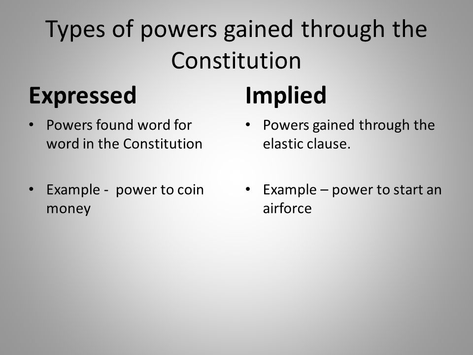 Types of powers gained through the Constitution