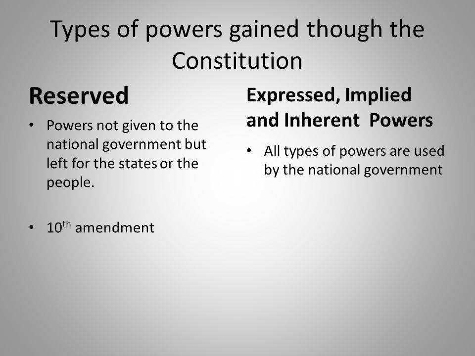 Types of powers gained though the Constitution