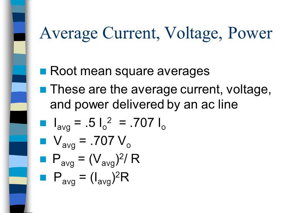Average Current, Voltage, Power