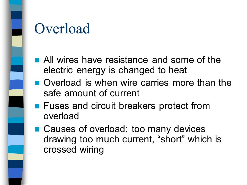 Overload All wires have resistance and some of the electric energy is changed to heat.