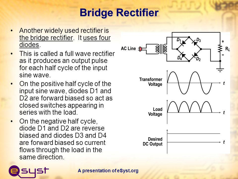 Bridge Rectifier Another widely used rectifier is the bridge rectifier. It uses four diodes.
