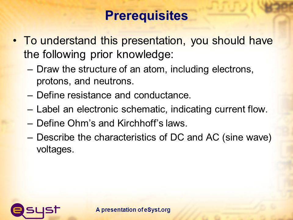 Prerequisites To understand this presentation, you should have the following prior knowledge: