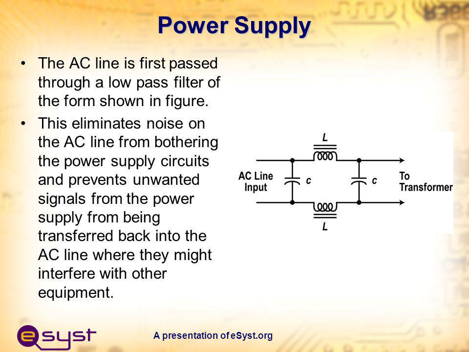 Power Supply The AC line is first passed through a low pass filter of the form shown in figure.