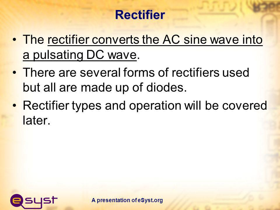 The rectifier converts the AC sine wave into a pulsating DC wave.