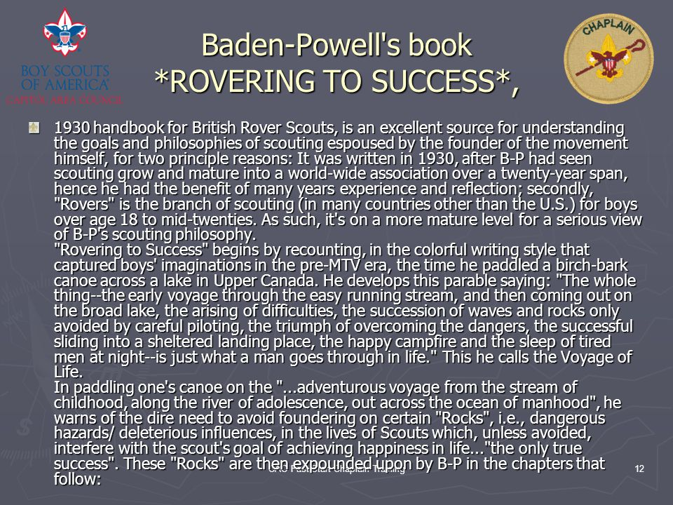 Baden-Powell s book *ROVERING TO SUCCESS*,