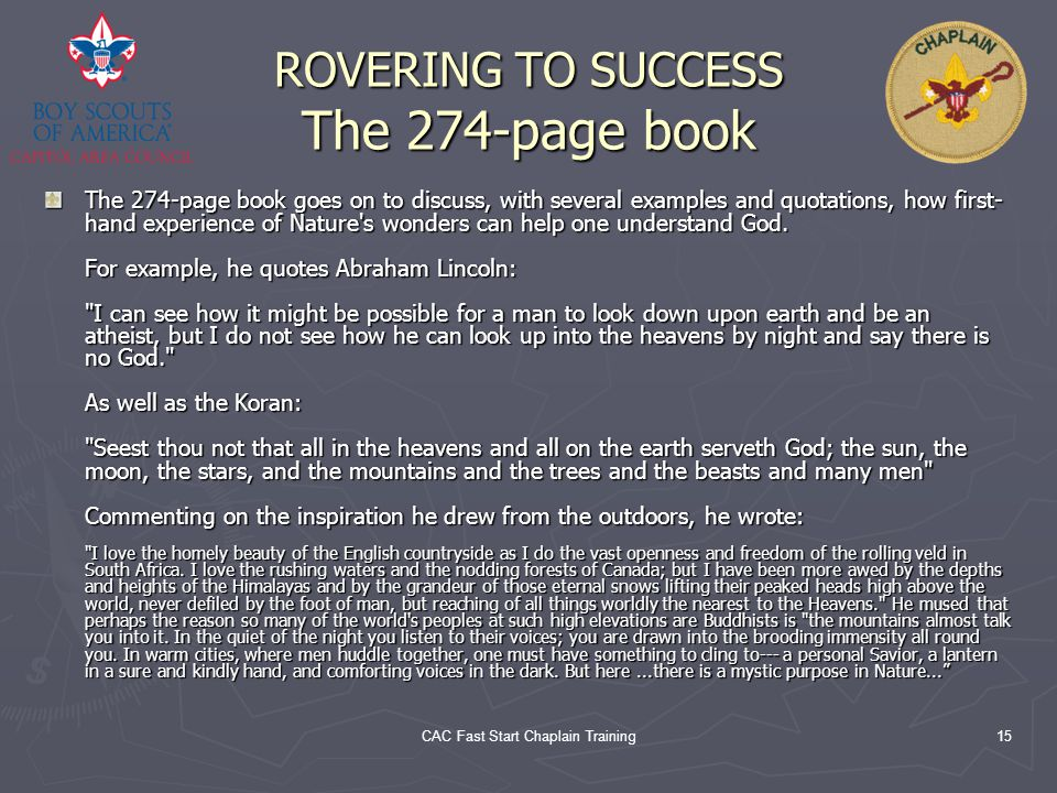 ROVERING TO SUCCESS The 274-page book