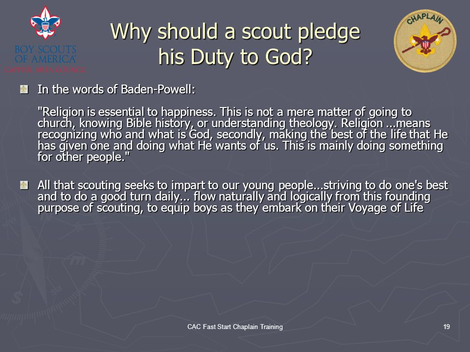 Why should a scout pledge his Duty to God