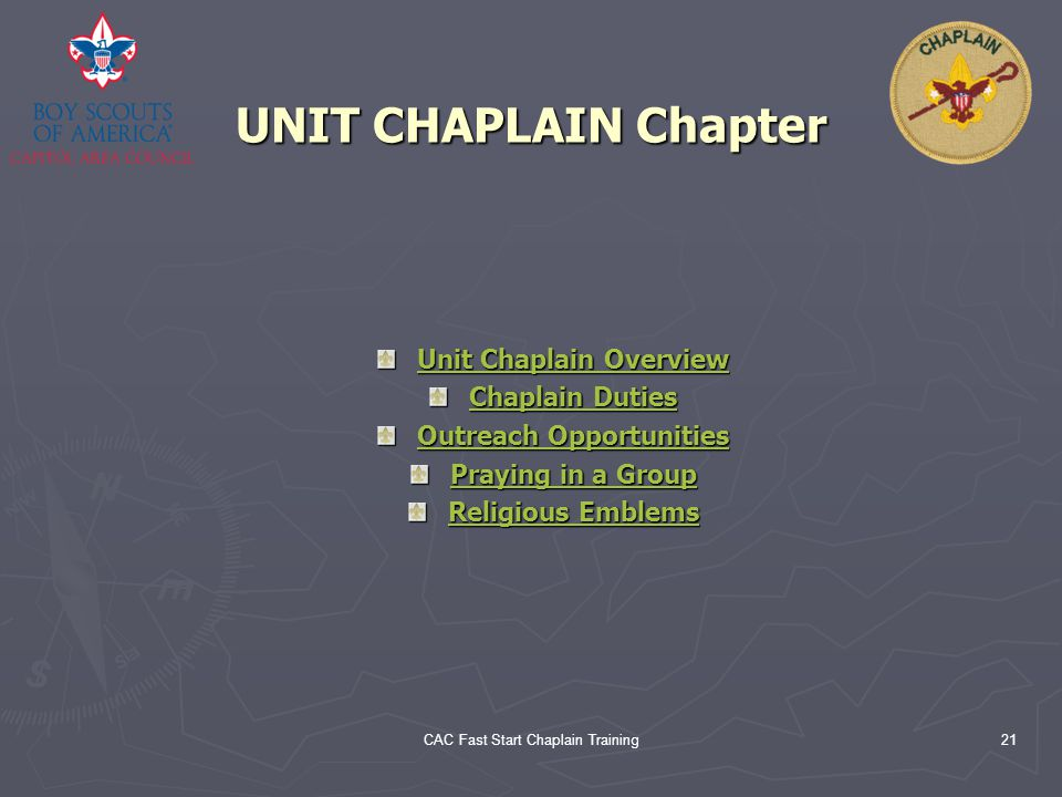Unit Chaplain Overview Outreach Opportunities