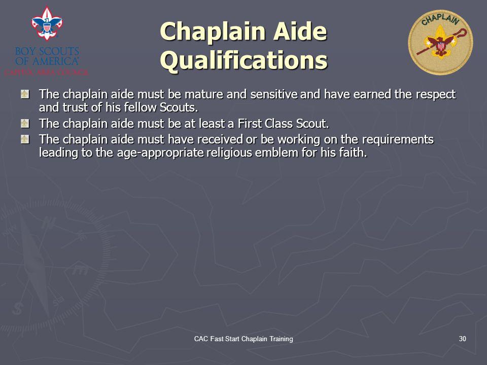 Chaplain Aide Qualifications