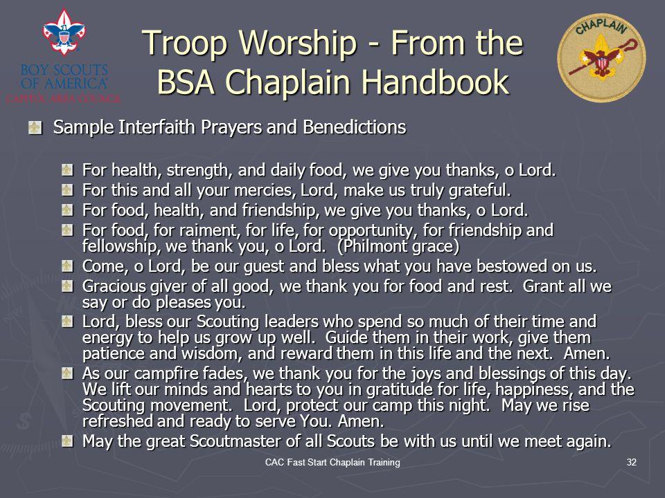 Troop Worship - From the BSA Chaplain Handbook