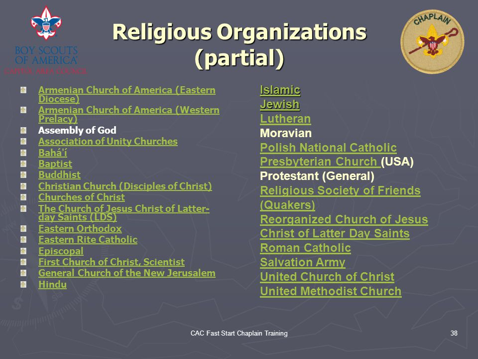 Religious Organizations (partial)